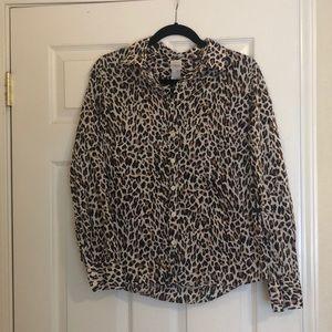 J. Crew Perfect Shirt button down leopard M